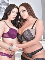 Kyra Hot and Emma Butt playing with sex toys and getting satisfied