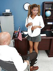 Awesome asian Lana pussy licked and mouth fucked in the office