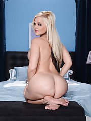 Big tit and round ass blonde Alena undressing her cute body