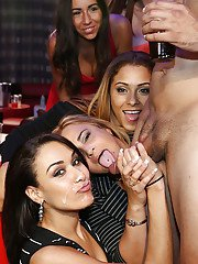 Cute latina girls having so much fun sucking cock at this party