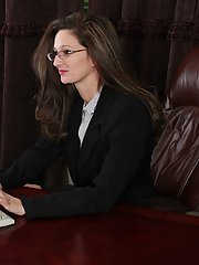 Small tit brunette milf Stephanie undressing in the office