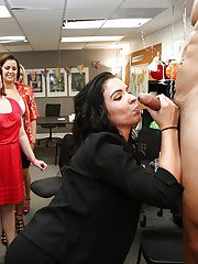 Outstanding babes at the office are giving many wet blowjobs