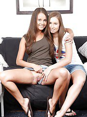 Cute lesbian babes Lizzie and Shira anal masturbating with a toy