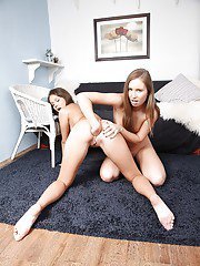 Sweet tiny tit lesbian teens Lizzie and Shire fingering their holes