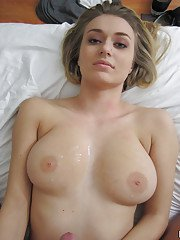 Sweet big tit blonde Natalia gets nailed hard in her shaved pussy