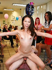 Asian babe gets deep pussy banged at the office orgy party