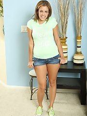 Awesome blonde whore teen Katie smiling and undressing her titties