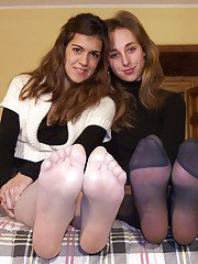 Cute ladies with sexy legs in pantyhose love foot fetish