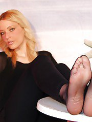This sexy blonde babe Christelle is up for some foot fetish