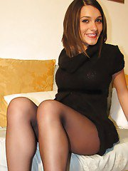 Beautiful girl Valentina is showing her stunning foot fetish pantyhose