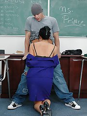 Sexy brunette teacher Diana is giving a deep and sloppy blowjob