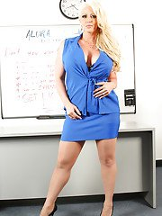 Fatty milf babe Alura is undressing these tits and big ass in the office