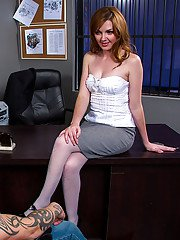 Awesome big tit office slut Marie is making a blowjob to her boy