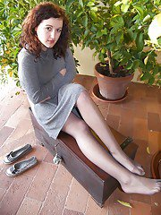 Ylenia knows how to seduce boys with just her sexy feet in pantyhose