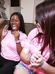 Clothed babes are enjoying an interracial party doing blowjob