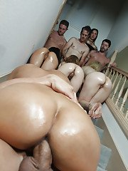 Oiled slut Amber Cox has her pussy and ass drilled in an orgy