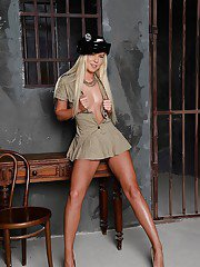 Undressing babe in a hot police uniform Angie Koks doing it in jail