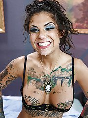 Clothed babe Bonnie Rotten has her mouth fucked hard in a sexy stockings