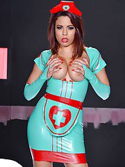 Brunette chick Luna Star has a strong fetish for latex uniforms