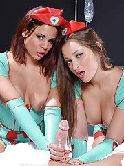 Threesome sex with sweet nurses Dani Daniels and Luna Starr in uniforms