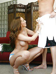 Kelly Divine enjoys the taste of fresh cum while doing blowjob in her jeans