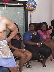 Muscled fellows dancing in front of happy babes during a cool party