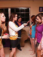 Undressing scene with a bunch of lesbian beauties on a orgy party