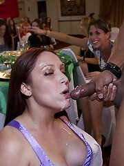 Busty girls are doing blowjobs to strippers while on a party