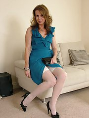 Milf beauty Alison has her favorite white stockings on while posing