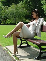 Outdoor posing from a beautiful non nude model in high heels Donna