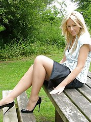 Outdoor posing from an incredible non nude model in tight skirt Jess