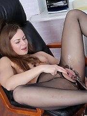 Beautiful office babe Sasha is showing off in her black pantyhose