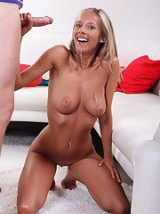 Cumshot action from an European chick Tracy Smile and her man