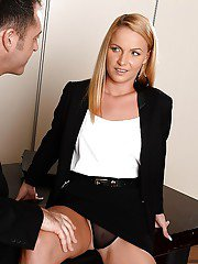 Christine Love trying to please her boss by swallowing his wiener