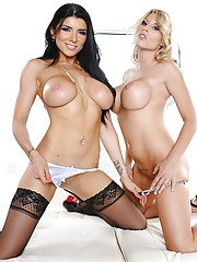 Charisma Cappelli  Romi Rain getting naked and licking pussy