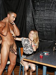 Big cock of a black stripper is nicely sucked by sexy babes on a CFNM party