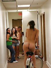 Reality lesbians are taking part in a coed party while naked