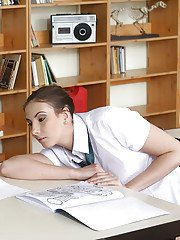 Big tits schoolgirl Connie Carter has her boobies teased in a uniform
