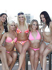 Lesbian bikini models are having a wild party feat. Alexis Monroe