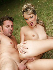 Outdoor cumshot scene with a tiny tits blonde pornstar Blue Angel