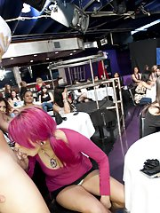 Crazy party with naked strippers and clothed Asian girls doing blowjobs