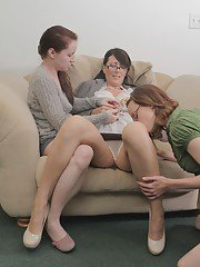 Lesbians Annabelle Lee Jay Taylor and Zoe Holloway pleasing each other