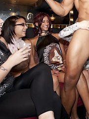 Clothed sluts are doing amazing blowjobs to fantastic strippers