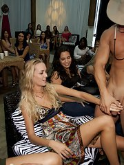 CFNM party with busty blondies and ebony sluts doing blowjobs