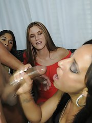 CFNM party features crazy cumshots and fantastic blowjobs from hot babes