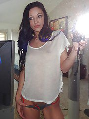 Gorgeous brunette teen Morgan Brooke shows her ass while she does self shots