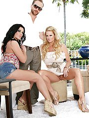 Horny swingers have an astounding threesome outdoor feat. Andy San Dimas
