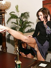 Milf swingers Veronica Avluv and Karen Fisher have some fun