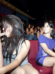 Sexy girls in jeans demonstrate their blowjob skills while on a party
