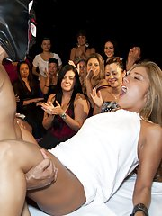 Ebony stripper has his cock sucked nicely by clothed babes on a party